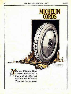 1922 Michelin Tire Ad --Ring Shaped Tubes --x887