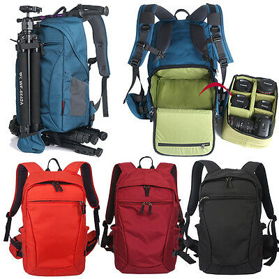 Men Women Waterproof DSLR Camera Lens Large Padded Travel Backpack Rucksack Pack