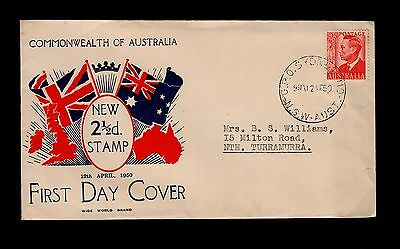 Australia 1950 new 2½d stamp FDC see scans x2