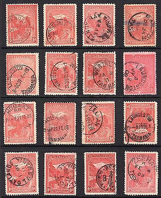 Tasmania mixed group of postmarks on 1d pictorial issues