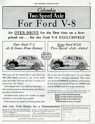 1935 Ford Car Ad --For Ford V-8's-- Columbia Two-Speed Axle ---t585
