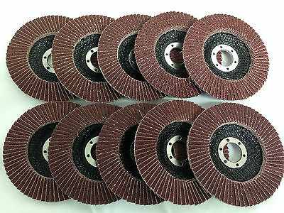 "10 X 115mm 80 Grit Aluminium Oxide Flap Discs, 4 1/2"" Angle Grinder FREE PP!"