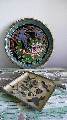 Antique Group of 2 CHINESE CLOISONNE ENAMEL DISHES