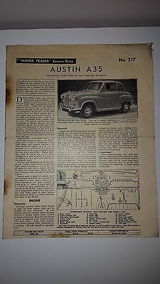Original Service Data 317 Austin A35 Dated 25 February 1959