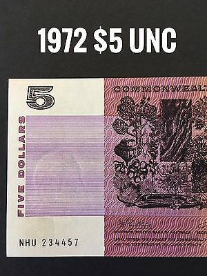 1972 - $5 Unc  Phillips / Wheeler Commonwealth Of Australia Paper Banknote