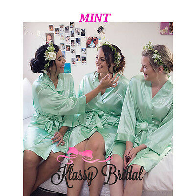 Bride bridesmaid robes bridal PARTY Gowns custom dressing MINT Personalised
