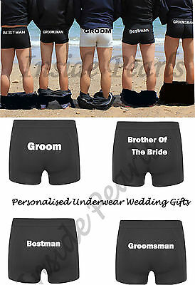 Personalised wedding underwear boxer brief shorts groomsman groom party gift