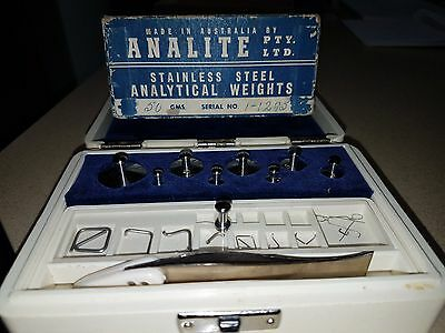 Analite Stainless Steel Analytical Weights Circa 1950