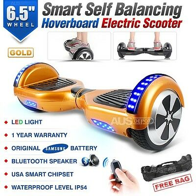 Two Wheel Bluetooth Gold Electric Glide Board Scooter UL Certified with Free Bag