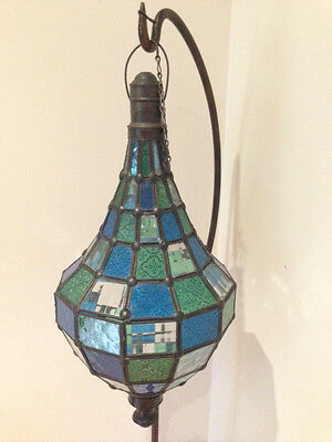 Iron Moroccan Floor Stand Lantern Candleholder Candle Retro Rustic Glass Metal