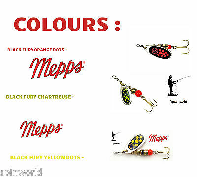 MEPPS Black Fury Silver -VARIETY SIZES & COLOURS spinners