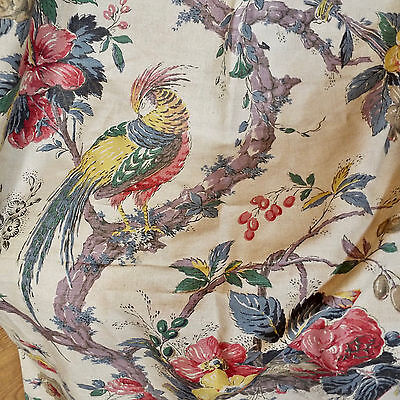 Printed Linen Toile Chintz Indienne Exotic Birds Flowers
