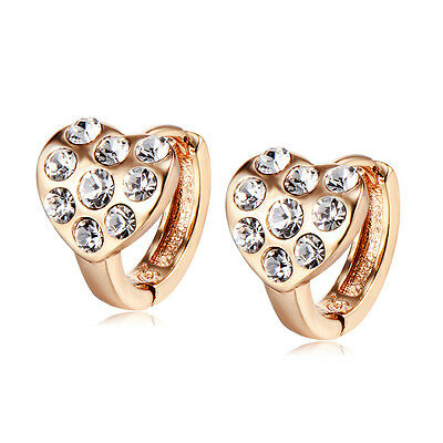 Girls Childrens Safety Heart Hoop Earrings 10K Gold Filled Crystal Kids