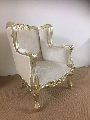 Silver Champagne Wing Chair French Chic Furniture
