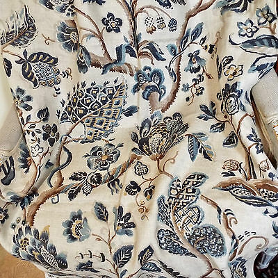 Printed Linen Panel Toile Chintz Indienne Crewel Pattern
