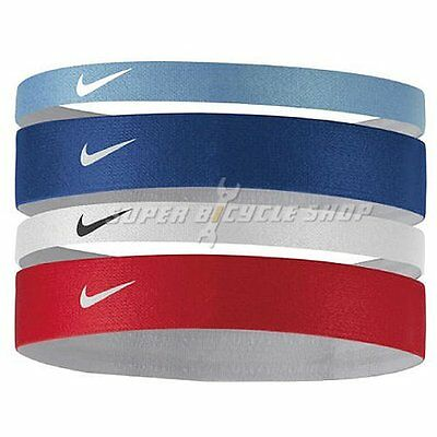 NIKE Printed Headbands Assorted 4 PK , Sky Blue x Blue x White x Red