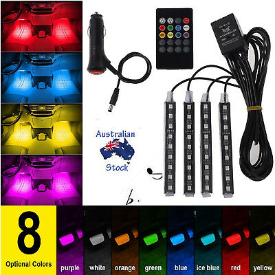 RGB 8 Color LED Neon Strip Light Music Remote Control For Car Interior Lighting