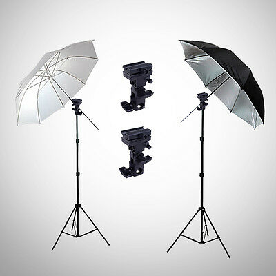 "Photography Studio 33"" Flash Umbrella Lighting Light Stand Bracket Mount B Kit"