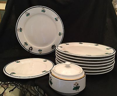 Homer Laughlin Set China 8 Dinner Salad Sugar Bowl Plates Seville Golf Clubs Tee