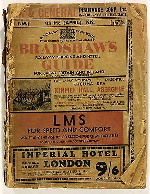 April 1939 Bradshaw's Railway Shipping & Hotel Guide PB 1038 Pages Vintage 1930s