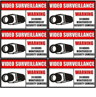 6 Home Security Video Surveillance Window Door Warning Vinyl Sticker Decal Sign