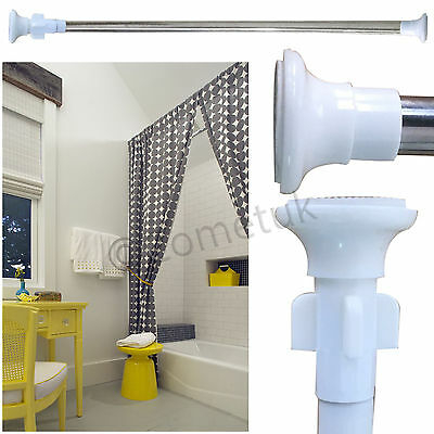 NEW Telescopic Shower Curtain Rail Extendable 70-120cm Heavy Duty Steel Pole Rod