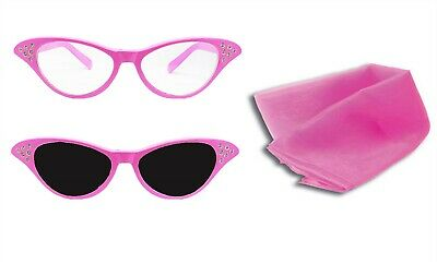 Ladies Pink Glasses With Dark Or Clear Lense + Scarf 1950S Fancy Dress Accessory
