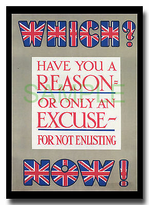 Which? Now? WW1 framed repro recruitment poster 1915