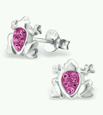 Children's Girls Frog Crystal Stud Earrings, 925 Silver, Rose, + Silk Pouch