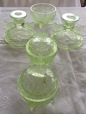 Art Deco Pressed Green Glass Dressing Table Set 'Sowerby'
