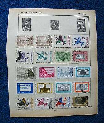 Eight Old Album Pages with Argentina Stamps.