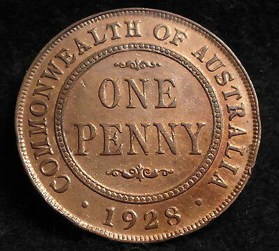 1928 Australian George V Penny - Scarce Broken bottom of 8 & top of 2 and 8