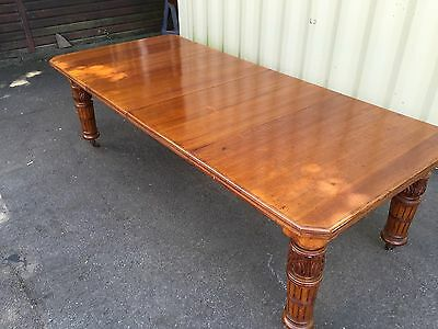 Grand Victorian English Oak Dining Table Proessionally Hand French Polished