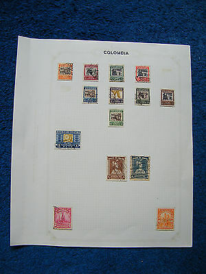Ten Old Album Pages with Colombia Stamps [A].