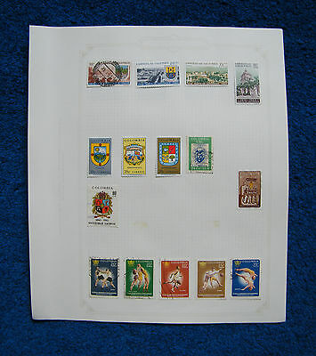 Ten Old Album Pages with Colombia Stamps [D].
