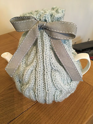 New Small Hand Knitted Duck Egg Blue Tea Cosy with Grey Ribbon ~ 2 Cup Pot