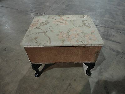 Vintage Foot Stool Pouffe with Cabriole Legs and Storage