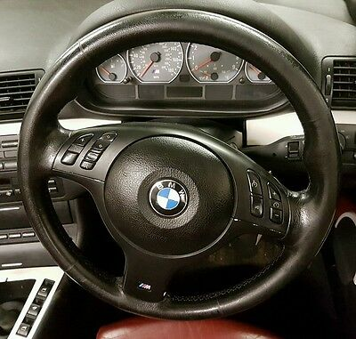 BMW E46 M3 Manual Multifunction Steering Wheel Complete With Airbag Tri Stitch