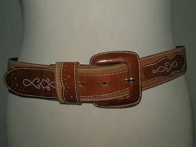 Vintage 1990's Tan Suede And Leather Belt Contrast Embroidered Detail Hippy Chic
