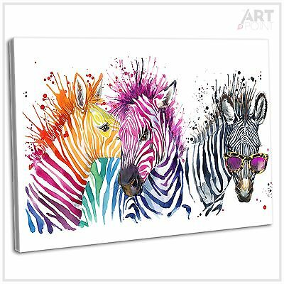 Multicoloured Zebra Abstract Watercolour Canvas Print Framed Wall Art Picture