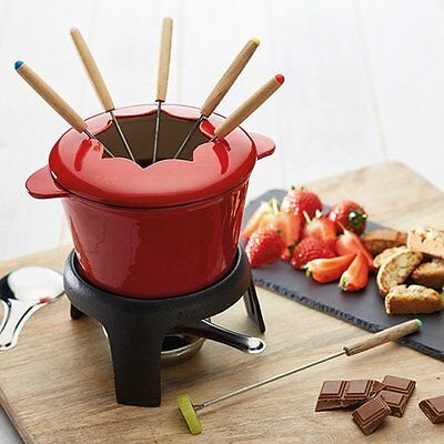Master Class Cast Iron Enamelled Fondue Gift Set RED Ideal for cheese chocolate