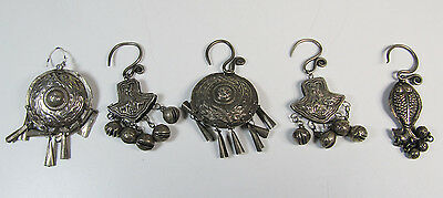 """Set of Five Vintage Moroccan Berber Silver Ornaments  2"""" to 3"""""""