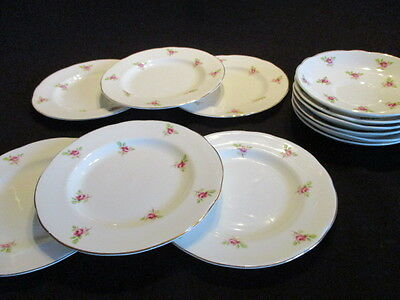 Vintage Ditsy Pink Rosebuds English china mismatched saucers, plates x 6