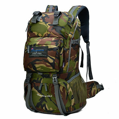 Hiking Trekking Army Camouflage Backpack 40L Climbing Travel Outdoor Camping