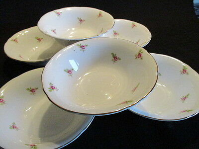 Vintage Ditsy Pink Rosebuds English china Dessert bowls x 6