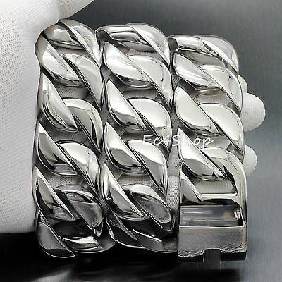 """Huge Silver 316L Stainless Steel Cuban Chain Necklace Heavy Men's 31mm 28"""" 2lbs"""