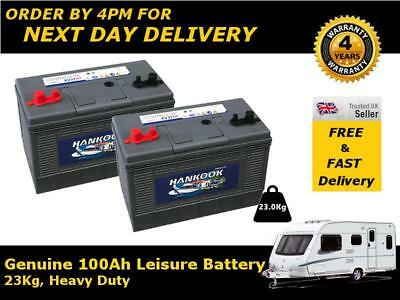 2x 12V 100AH Hankook XV31 Ultra Deep Cycle Leisure Marine Battery - 4 Yrs Wrnty
