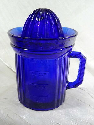 Measuring Cup With Reamer Cobalt Blue Glass
