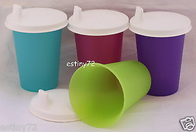 Tupperware Kids Bell Tumblers Set With Domed Sipper Seals (4) Pink Purple New
