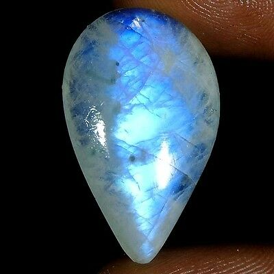 24.80Cts 100% NATURAL SUPER QUALITY RAINBOW MOONSTONE PEAR CABOCHON TOP GEMSTONE
